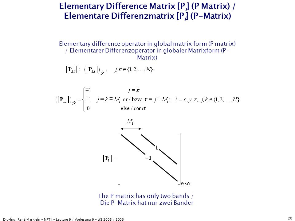 Elementary Difference Matrix [Pi] (P Matrix) / Elementare Differenzmatrix [Pi] (P-Matrix)